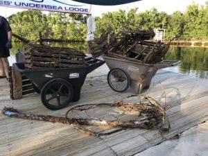 Debris unloaded on dock