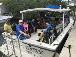 SCUBA Divers on boat ready to leave for the world famous Key Largo reef in the John Pennenkamp state park