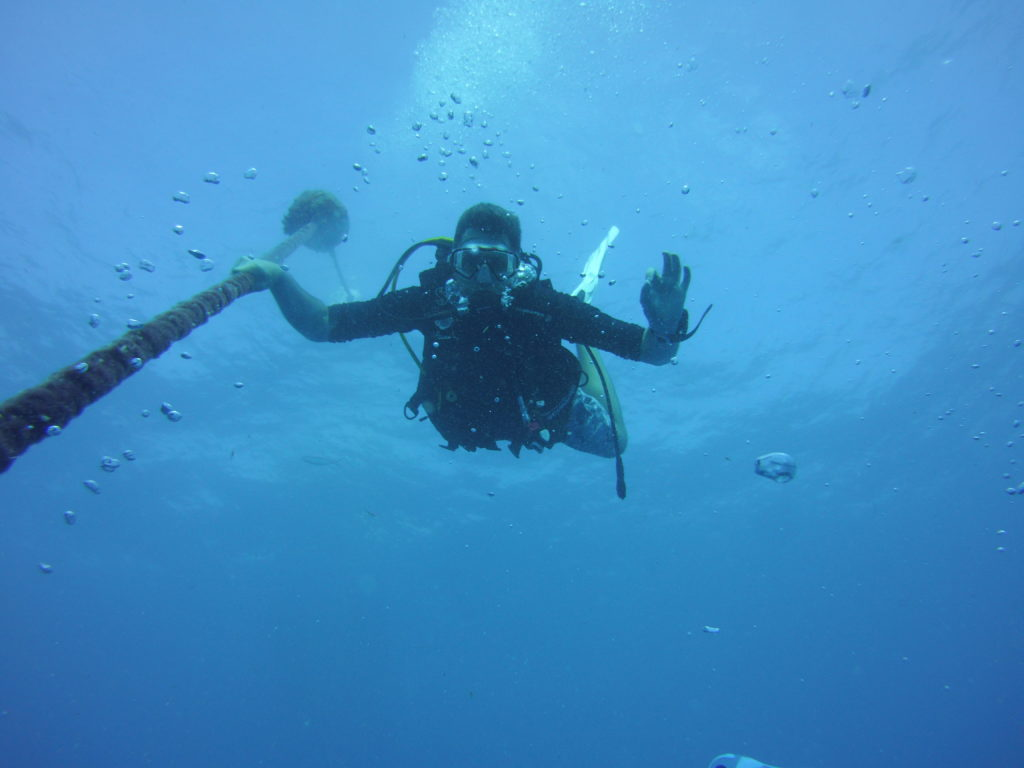 showing diver coming down the line head first to the Spiegel Grove Wreck that starts at 60 feet 20 meters