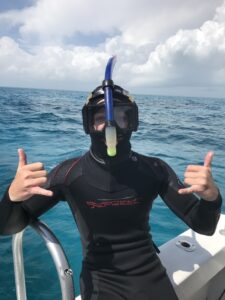 Dive Master will with his frot snorkel